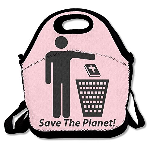 Oypox Save The Planet Atheist Lunch Handbag Lunchbox Tote Bags Insulated Cooler Warm Pouch With Shoulder Strap For Women Girls Kids Adults Teens (Pouch Recycled Vinyl)