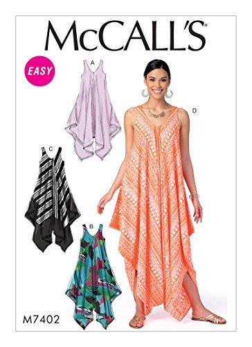 Handkerchief Dress Pattern (McCall's Patterns M7402 Misses' Handkerchief-Hem, Tent Dresses and Jumpsuit Y(4-6-8-10-12-14))
