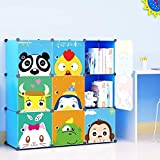 MAGINELS Kids' Toy Storage Cube Organizer for Children Bookcase Cabinet Blue Cartoon 9 Cube