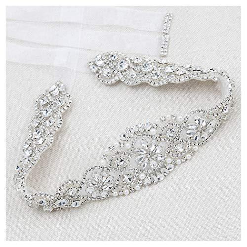 Crystal Rhinestone Belt Braided Wedding White Organza sash Pearls Rhinestone Belt DIY Clear Crystal for Bridal Gowns