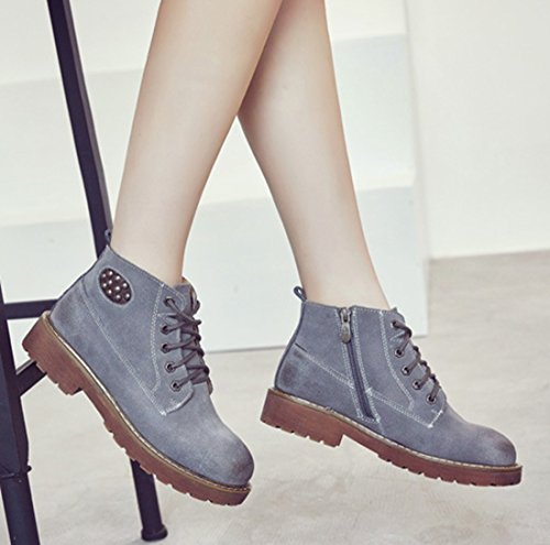 Women's Suede Sole up Lace Ankle Top Rubber Leather Boots Low Grey TDA AqntdYgA