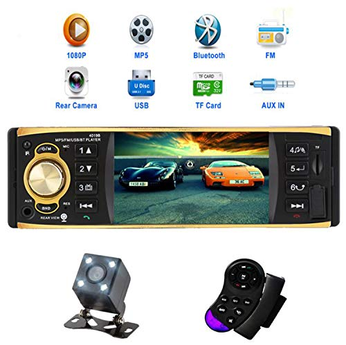(4.1 inch Car Radio Audio Stereo AUX FM Radio Station Bluetooth Autoradio with Rearview Camera Remote Control)