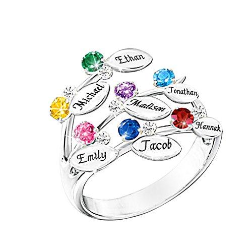XXI0c2sd2s Family Ring Engrave Name Custom 7 Birthstone 7 Ring Sterling Silver Mom Grandma Rings Gift (Silver - 9.5)