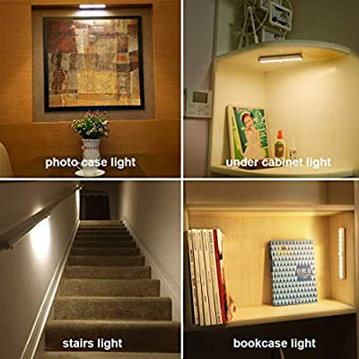 Anbock Wireless Under Cabinet Lighting Remote Control LED Closet Light Under Counter Lighting Rechargeable Battery Operated Lights Stick on Lights for Hallway Stairs Pantry Kitchen Warm White 3 Packs