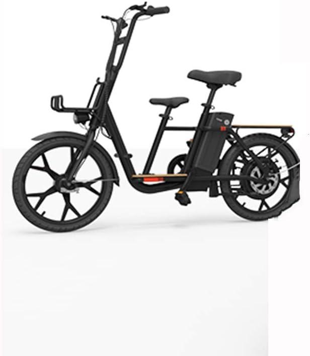 LILIJIA Bicicleta Eléctrica 18 Pulgadas 36v 10ah Bicicleta Eléctrica Multifunción Familiar para Padres e Hijos Motor Rueda Trasera 300w Movilidad Urbana Viaje Al Aire Libre E-Bike,Negro