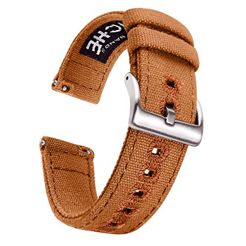 (22mm Brown Canvas Quick Release Watch Bands Compatible with Seiko Watch Straps for Men)