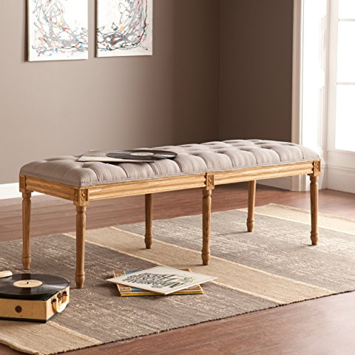 Southern Enterprises AMZ4028CB Makenna Upholstered Bench Dove Gray Fabric Seat w/Natural Wood Base - Elegant Style,