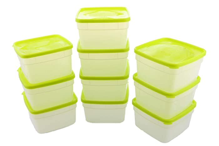 Arrow Reusable Plastic Storage Container Set, 10 Pack, 1 Pint/16 Ounce Each – Food, Meal Prep, Leftovers – Freeze, Store, Reheat - Clear Container Set With Lids – BPA-Free, Dishwasher/Microwave Safe