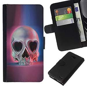 EJOY---La carpeta del tirón la caja de cuero de alta calidad de la PU Caso protector / LG OPTIMUS L90 / --Muerte del corazón rosa azul del cráneo Esqueleto