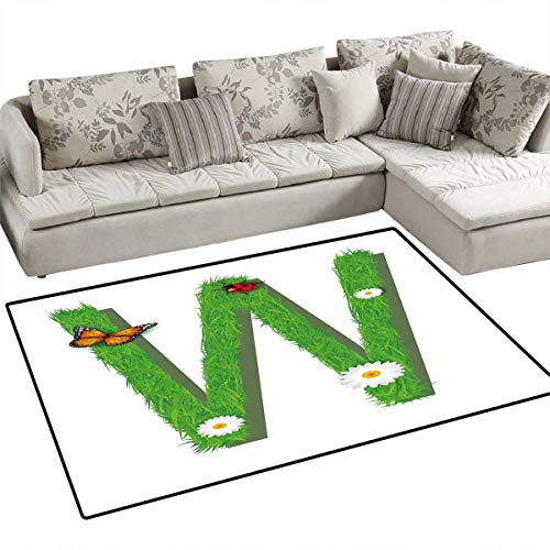 (Letter W Anti-Static Area Rugs Uppercase W Nature Influences Butterfly Freedom Inspirations of Summer Kids Children Kids Nursery Rugs Floor Carpet 4'x6' Green Multicolor)
