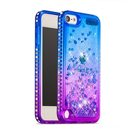 - STENES Bling Case Compatible iPod Touch 6 - Glitter Series Floating Liquid Luxury Sparkle Bling Shockproof Protective Pretty Cover Compatible iPod Touch 5 / iPod Touch 6 - Blue&Purple