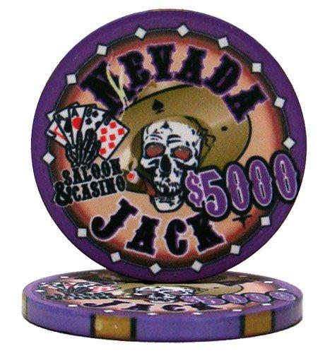 Nevada Jack Casino Grade Ceramic 10-gram Poker Chip – Pack of 50 ($5000 Purple)