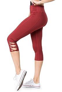 Sipaya Womens High Waist Capri Leggings with Pockets Yoga Pants Tummy Control S-XL