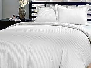 600hilos algodón egipcio de Set de funda de edredón de rayas de color blanco King