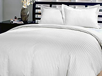 KING SIZE GRAY STRIPE DUVET SET FITTED SHEET 800 TC 100/% EGYPTIAN COTTON
