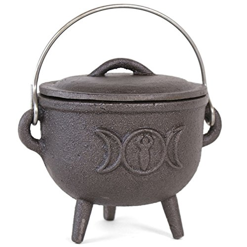 Something Different Cast Iron Cauldron With Triple Moon, Black, 11cm