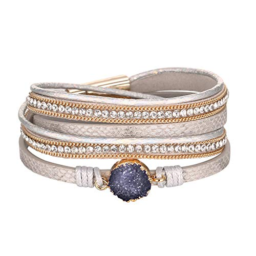 Fesciory Women Multi-Layer Leather Wrap Bracelet Handmade Wristband Braided Rope Cuff Bangle with Magnetic Buckle Jewelry(Purple Stone)