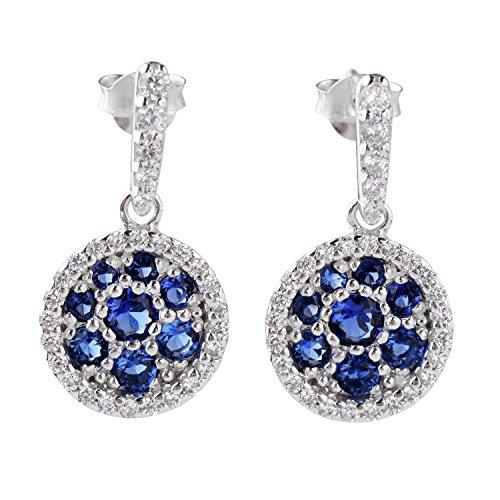 Sterling Silver White & Sapphire Blue Cubic Zirconia Encrusted Elegant Round Drop Dangle Earrings ()