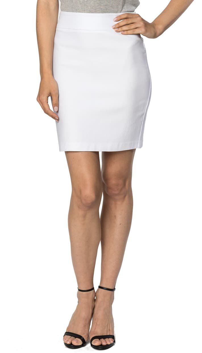 Velucci Womens Stretchable Mini Pencil Skirt - Above The Knee 19'' Length Classic Skirt, White-L