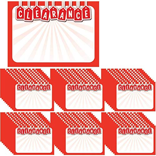 Retail Genius Clearance 60 Sign Value Pack. Big 5x7 Display Tags Boost Business. Thick, Durable, Easy to Write On Cards Are Great for Yard, Estate & Garage Sales, Fundraisers, Stores, & Flea Markets. ()