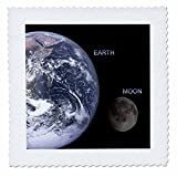 3dRose Solar System - Earth and Moon - Quilt Square, 12 by 12-inch (qs_76842_4)