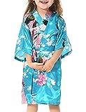 Yidarton Girls Peacock Satin Kimono Robe Fashion Bathrobe Nightgown Light Blue 8