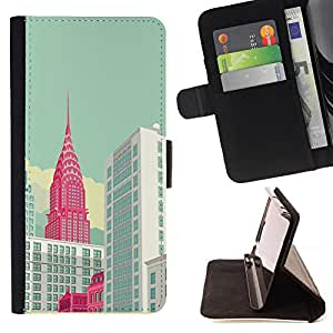 For Sony Xperia Z2 D6502 New York Empire Building Art Poster Style PU Leather Case Wallet Flip Stand Flap Closure Cover