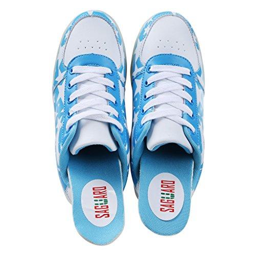 Saguaro Unisex Vrouwen Mannen Usb Opladen Led Lichtgevende Amerikaanse Vlag Sportschoenen Knipperende Sneakers Blauw