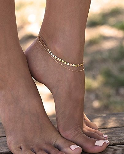 Layered Coin Anklet, Gold Anklet, Gold Layered Anklet, Disc Anklet, Gold Ankle Bracelet, Ankle Bracelet, Gold Filled Bracelet, Ankle Bead Bracelet by Capucinne