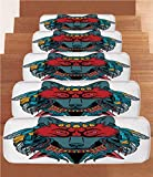 iPrint Non-Slip Carpets Stair Treads,Tribal,Ethnic Warrior Wolf Portrait with Mask Feathers Native American Animal Art,Teal White and Red,(Set of 5) 8.6''x27.5''