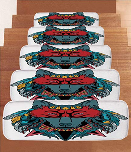 iPrint Non-Slip Carpets Stair Treads,Tribal,Ethnic Warrior Wolf Portrait with Mask Feathers Native American Animal Art,Teal White and Red,(Set of 5) 8.6''x27.5'' by iPrint