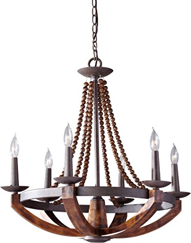 Feiss F2749 6RI BWD Adan Candle Chandelier Lighting, Iron, 6-Light 26 Dia x 26 H 360watts