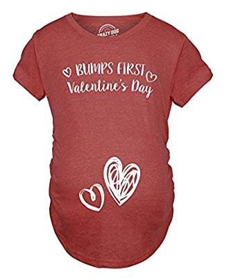 Crazy Dog T-Shirts Bumps First Valentine's Day Maternity Shirt Cute Adorable Baby Pregnancy Tee