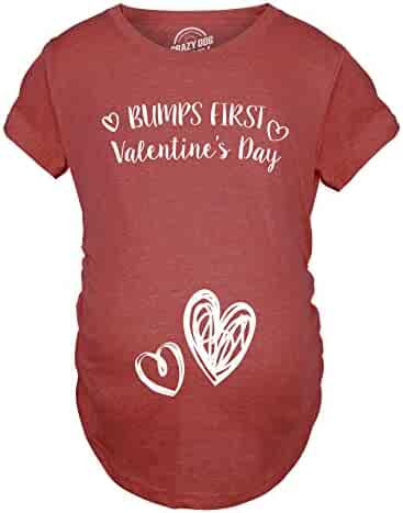 e96c8076b08d3 Crazy Dog T-Shirts Bumps First Valentine's Day Maternity Shirt Cute  Adorable Baby Pregnancy Tee