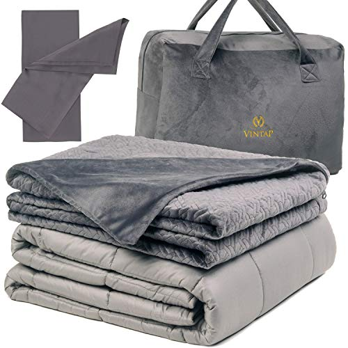 Cheap Vintap Adult King Size Weighted Blanket for Couples - 25 lbs 80x87 Best for King Sized Bed - Bonus Minky Duvet 2 Bamboo Pillowcases & Soft Minky Handbag Black Friday & Cyber Monday 2019