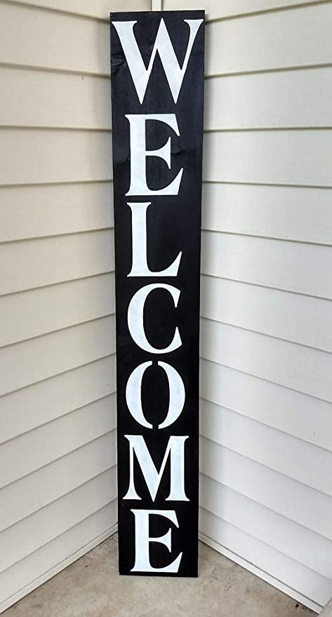 farmhouse sign wood WELCOME vertical home decor wooden rustic porch entry RED