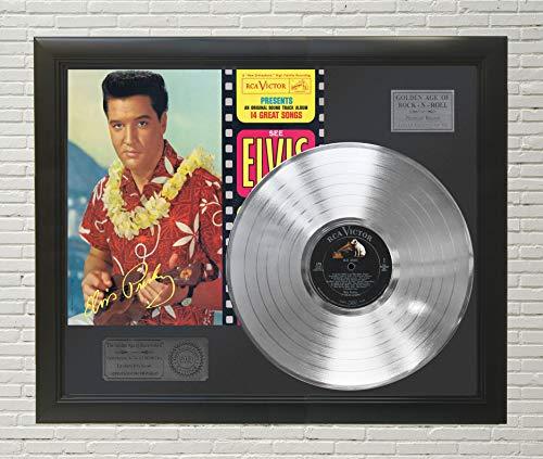 "Elvis Presley - Blue Hawaii Framed Platinum LP Reproduction Signature Display""M4"""