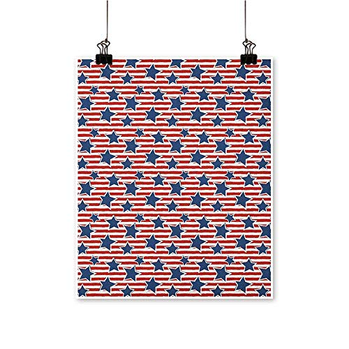 HouseDecor 4th of July,Kitchen Wall Decor Flag of The Greatest Nation in The World Stars and Stripes Old Glory W20 xL28 Canvas Print Panels