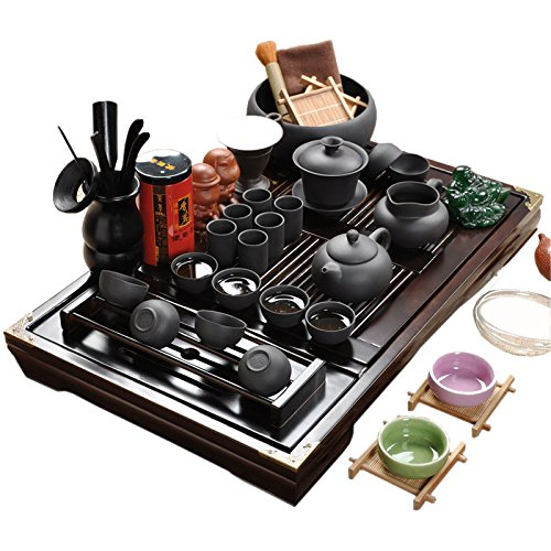 ufengkeWood Tea Tray Ceramic Kung Fu Tea Set Tea Service-Black