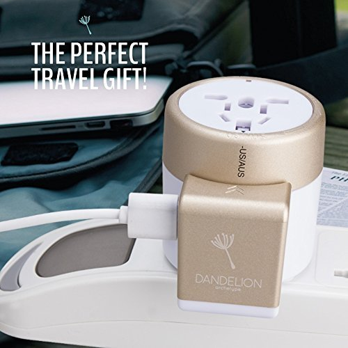 Dandelion Travel Adapter Outlet Adapter Travel Accessory with Dual USB Ports Universal Charger (UK, US, AU, Europe & Asia) International Power Plug Adapter with Safety Fuse - Great Travel Gift (Gold)