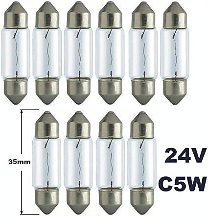 24 V – 10 unidades – C 5 W – T11 x 35 – Sv8.5 – 35 mm – 5 W – Iluminación para camiones – Bombilla incandescente, bombilla, soffitte, lámparas. Con certificado E [aprobado por la STVZO] – Hallenwerk