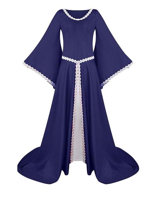 Vestido De Traje Medieval Renacentista Vestido Estilo Manga Larga Estilo Gotico: Amazon.es: Ropa y accesorios