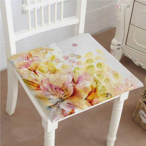 Mikihome Memory Foam Chair Pads Lilies Buds Leaves Marks Cream Light Pink and Peach Cushion Perfect Indoor/Outdoor 16