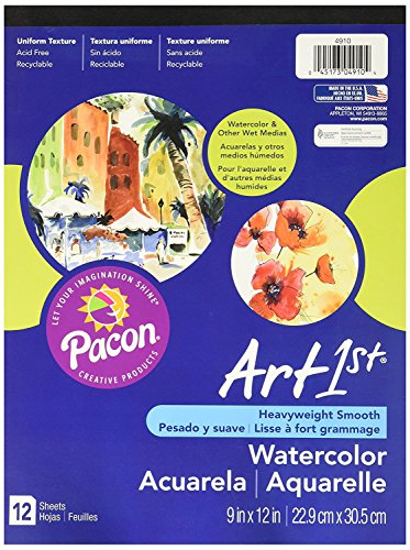 Pacon Art1st Watercolor Paper Pad, 9 x 12 Inches, 12 Sheets (4910)
