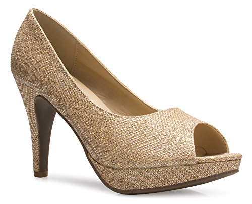 OLIVIA K Women's Sexy Open Toe High Heel Pumps - Basic, (4 Inch Sexy Classic Pump)