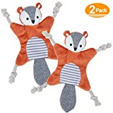 No Stuffing Dog Toys for Aggressive Chewers, Dog Chew Toys for Small Dogs, Stuffless Crinkle Squeaky Plush Animal Dog Toy Flat Squirrel with Rope Knots for Chewing and Tugging 2-Pack