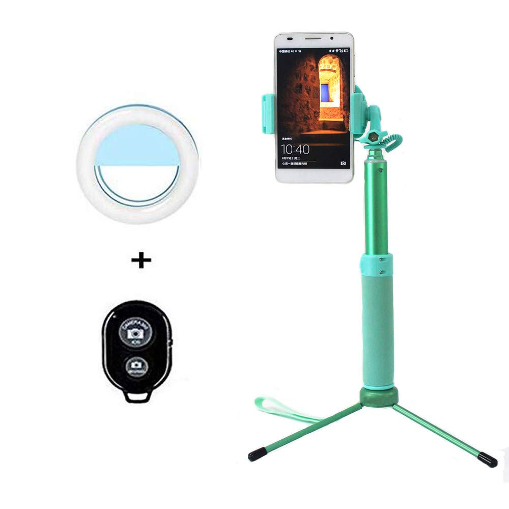 Selfie Stick Tripod 1.22 M with Ring Light Remote Bluetooth for Live Stream and Makeup Compatible for iPhone X/SE/6/6s/6 Plus/7/7 Plus/8/8 Plus/, Samsung 8/S8/S8 Plus, Nexus, LG, Moto(Mint Green) Keweis
