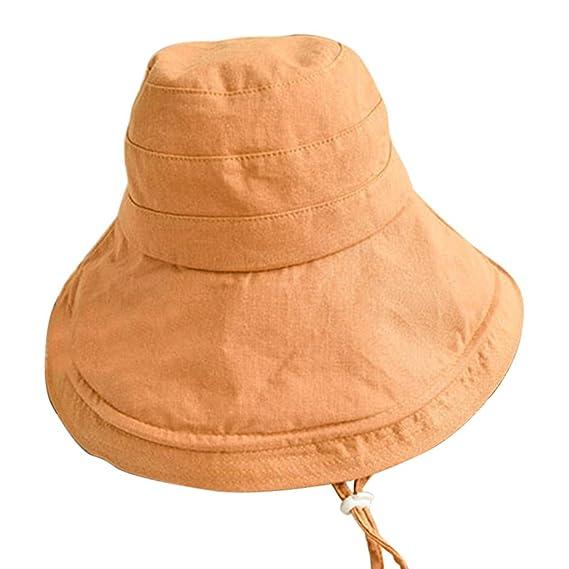 Dwevkeful Sombrero del Sol para Mujer, Gran ala SóLido Moda Casual ...