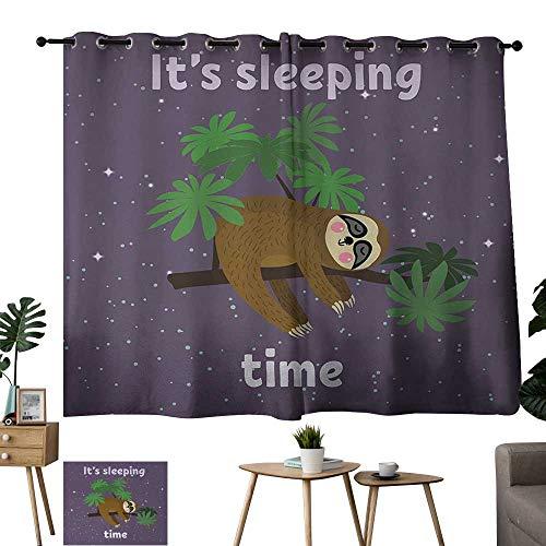 (Warm Family Room Curtains Sloth,Cute Cartoon Character Sleeping on Branch Jungle Animal in Night Sky Kids Theme,Plum Brown Green 72