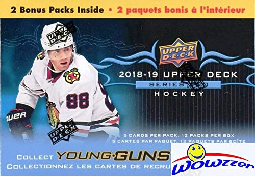 2018/2019 Upper Deck Series 2 NHL Hockey EXCLUSIVE HUGE Factory Sealed Blaster Box with 12 Packs with TWO(2) YOUNG GUN ROOKIE Cards! Look for Carter Hart, Andrei Svechnikov & Many More! WOWZZER!